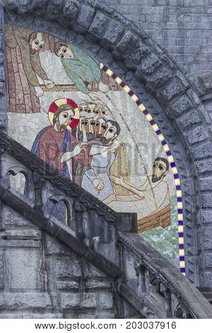 Jesus Christ healing sick man. Mosaics. Basilica of our Lady of the Rosary. Lourdes, France Hautes Pyrenees