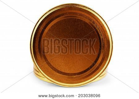 collection of various bottle caps on white background