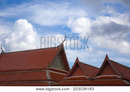 Top part of Thai temple roof detail with Thailand culture style.