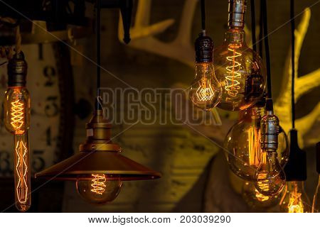 Vintage or antique light bulbs hanging on ceiling.