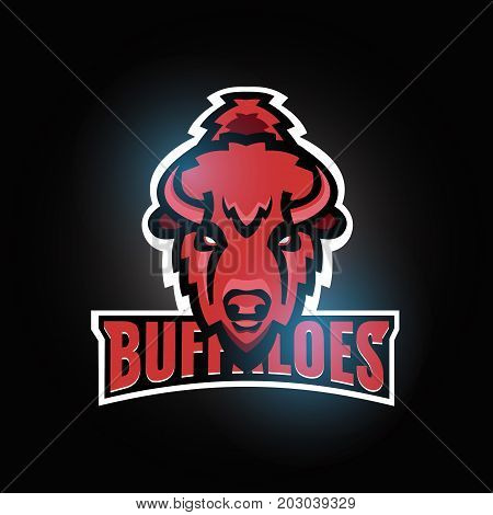 Buffaloes sport team logo template design. Bull head. Stock vector