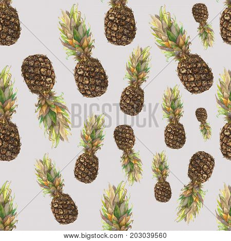 Pineapple ananas with colorful leaves on grey background. Seamless watercolor pattern. Could be used for textile or in design