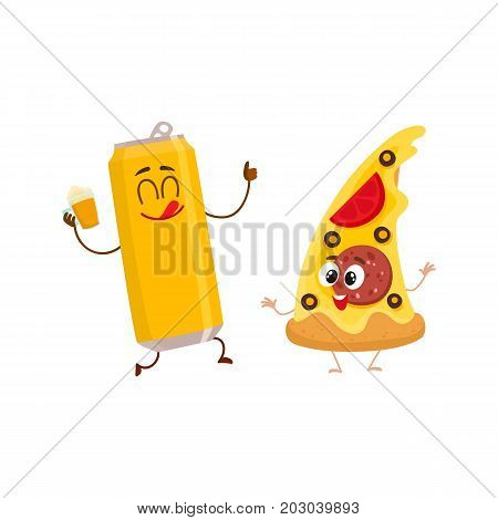 Funny alumium beer can and yummy pizza slice characters having fun, cartoon vector illustration isolated on white background. Funny smiling beer can and pizza, fast food restaurant, good company