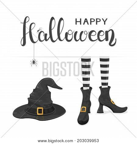Black spiders on lettering Happy Halloween with witches hat and legs in shoes on white background, illustration.