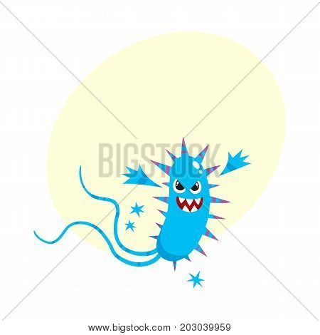 Ugly spiked virus, germ, bacteria character with human face and sharp thorns, cartoon vector illustration with space for text. Scary bacteria, virus, germ monster with human face and sharp teeth