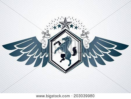 Vector vintage heraldic coat of arms created in award design and decorated using eagle wings pentagonal star and horse illustration