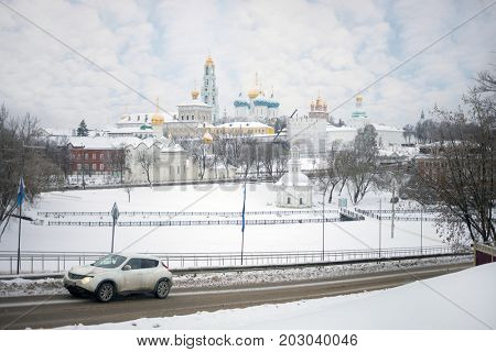 Holy Trinity Lavra Monastery at winter day in Sergiev Posad, Russia