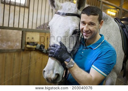 Handsome man in gloves stands with white horse in harness and smiles in stable