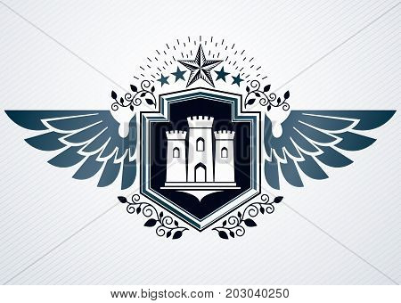 Luxury heraldic vector emblem template made using medieval fortress and pentagonal stars