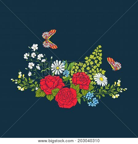 Bouquet with roses and daisies for a card, embroidery. Traditional European pattern. Stock line vector illustration.
