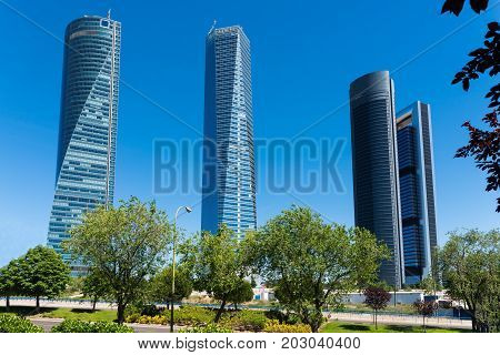 Four towers skyscrapers finance area in Madrid Spain