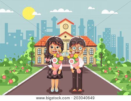 Stock vector illustration characters children schoolgirl and schoolboy, classmates, pupils students stand with bouquets flowers in front of building knowledge day start study back to school flat style