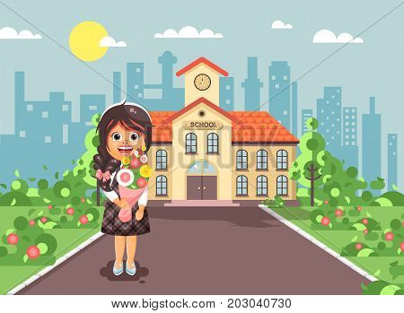 Stock vector illustration cartoon character child lonely brunette schoolgirl, pupil, student standing with bouquet flowers in front of building knowledge day start study back to school flat style