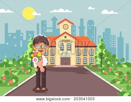 Stock vector illustration cartoon character child lonely boy brunette schoolboy, pupil, student standing with bouquet flowers in front of building knowledge day start study back to school flat style