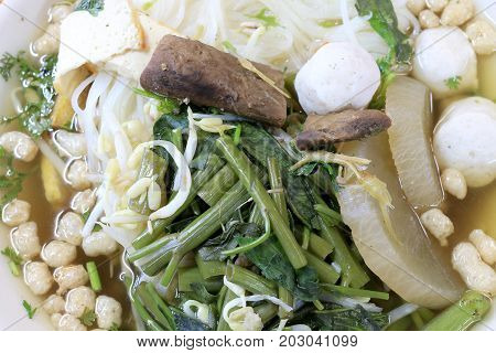Vietnamse Noodle Soup, Served With Fresh Herbs At The Buddhist Eatery, Radish, Morning Glory, Shiita