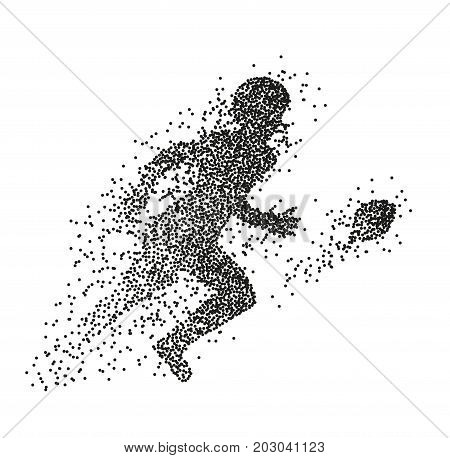 Particle Divergent Silhouette Of American Football Player.