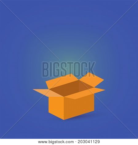 Vector flat icon style illustration: open empty brown carton or cardboard box, known as shipping box on a magic blue background. Could be used as gift or giveaway background.
