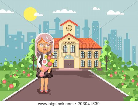Stock vector illustration cartoon character child lonely girl schoolgirl, pupil, student standing with bouquet flowers in front of building knowledge day start study back to school flat style
