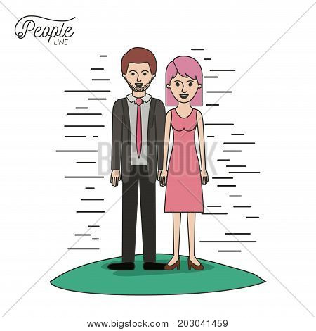 caricature couple people line bearded man in formal suit and woman with straight short hair in dress standing in grass on white background vector illustration