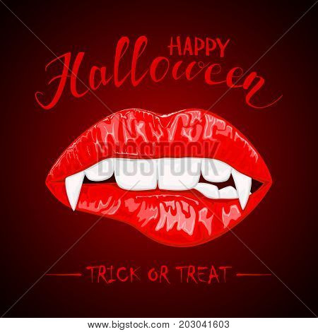 Female lips with vampire fangs and lettering Happy Halloween on red background, illustration.