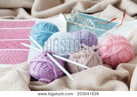 knitting wool and knitting needles close up