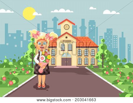 Stock vector illustration cartoon character child lonely girl blonde schoolgirl, pupil, student standing with bouquet flowers in front of building knowledge day start study back to school flat style