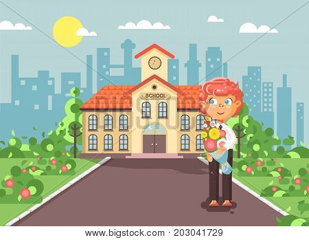 Stock vector illustration cartoon character child lonely boy redhead schoolboy, pupil, student standing with bouquet flowers in front of building knowledge day start study back to school flat style