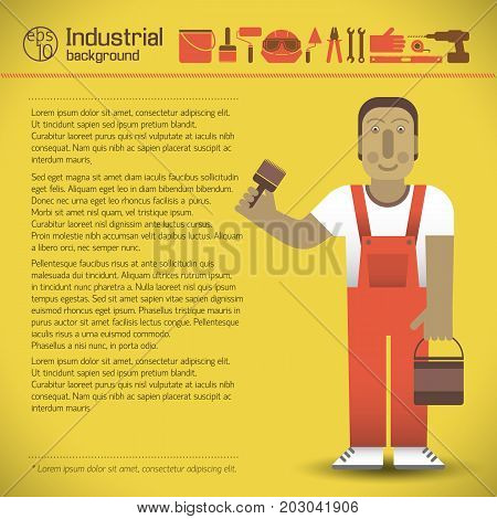 Workman in red overalls text and set of industrial tools on yellow background flat style vector illustration