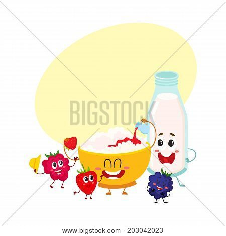Funny bowl of cottage cheese, milk bottle and berry characters, healthy breakfast, cartoon vector illustration with space for text. Cute cottage cheese bowl, milk bottle and berry characters