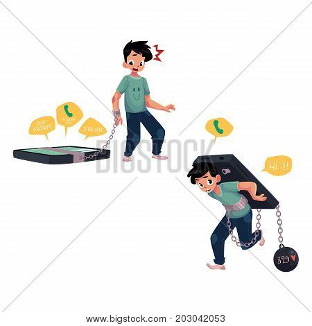 Teenage boy chained to, bent under huge smartphone, phone dependence concept, cartoon vector illustration isolated on white background. Boy chained to huge phone, phone slavery, dependence concept