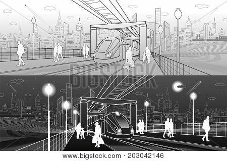 Infrastructure and transport panorama. Monorail railway. People walking under flyover. Train move. Railway platform. Modern night city. Towers and skyscrapers. White and gray lines. Vector design art