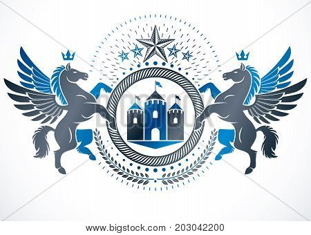 Heraldic design vector vintage emblem created using mythic Pegasus illustration ancient castle and imperial crown.