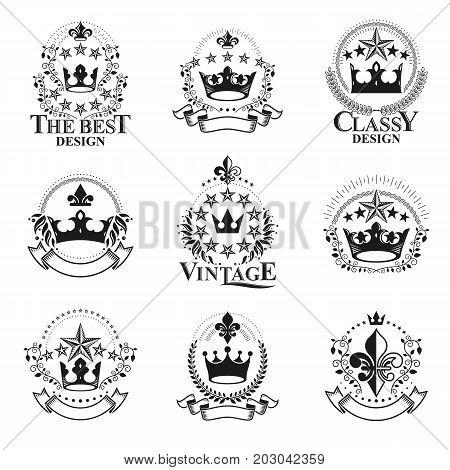 Royal Crowns emblems set. Heraldic vector design elements collection. Retro style label heraldry logo.