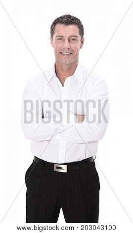 Mature business man arms folded isolated on white.