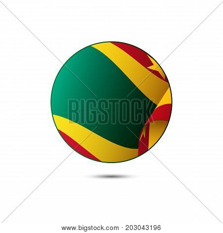 Grenada flag button with shadow on a white background. Vector illustration.
