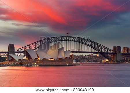 SYDNEY AUSTRALIA - September 4 2017: View of Sydney Opera House. Sydney Australia Over 10 millions tourists visit Sydney every year