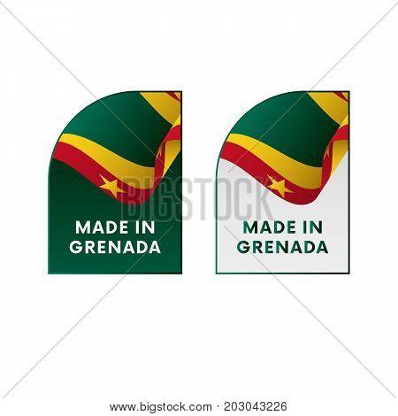 Stickers Made in Grenada. Waving flag. Vector illustration.