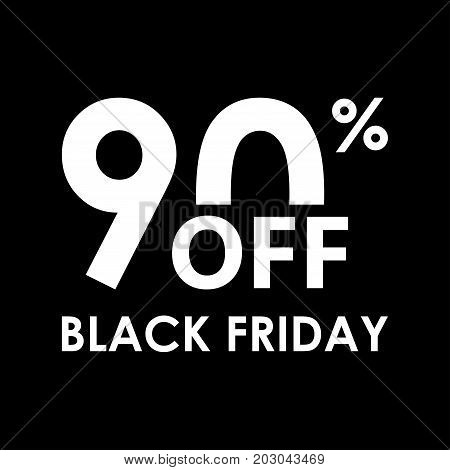 90% off. Black Friday design template. Sales discount price shopping and low price symbol. Vector illustration.