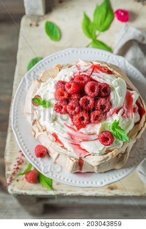 Sweet And Creamy Pavlova Cake Made Of Mascarpone And Berries