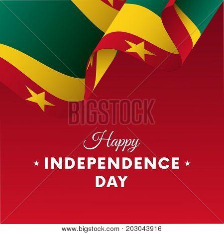 Banner or poster of Grenada independence day celebration. Waving flag. Vector illustration.