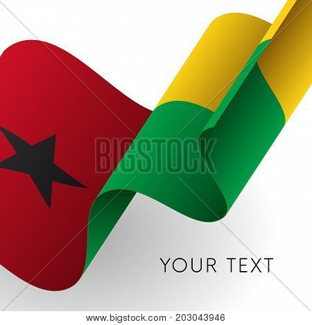 Guinea-Bissau flag. Patriotic design. Waving flag. Vector illustration.