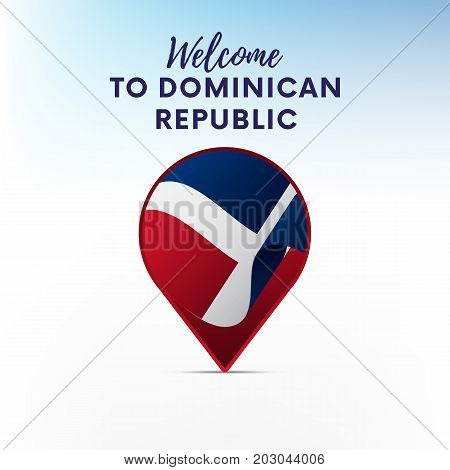 Flag of Dominican Republic in shape of map pointer or marker. Welcome to Dominican Republic. Vector illustration.
