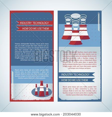 Usage of industry technology banners in blue red colors with chimneys and ribbons isolated vector illustration