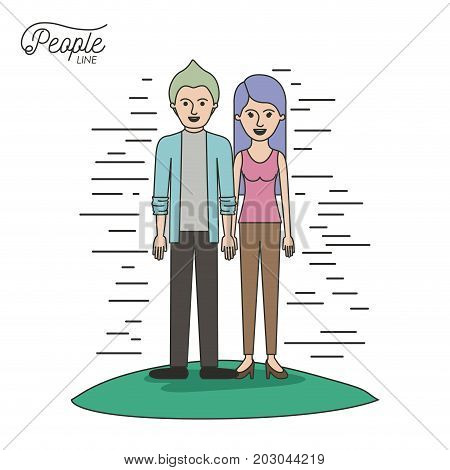 caricature couple people line casual clothes guy modern hairstyle and woman with straight long hairstyle standing in grass on white background vector illustration