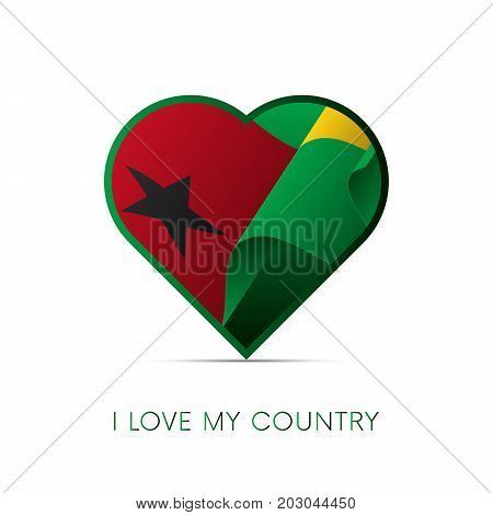 Guinea-Bissau flag in heart. I love my country. sign. Vector illustration.