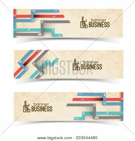 Horizontal banners with white business icons on colorful numbered tabs on textured beige background isolated vector illustration