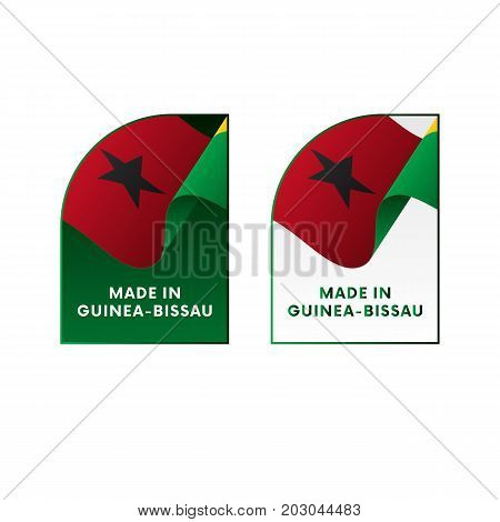 Stickers Made in Guinea-Bissau. Waving flag. Vector illustration.