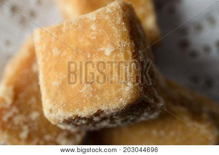 Fudge Pieces Close Up On Doily