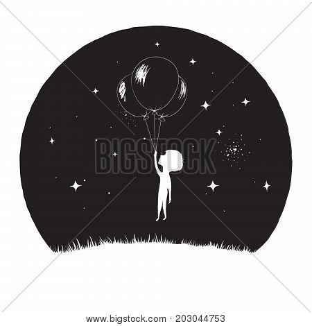 Little boy fly with balloons at the night time on Moon background.Prints design.Vector illustration