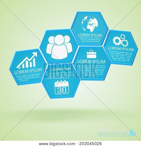 Business infographics with composition from blue hexagons with icons and text on pale green background vector illustration